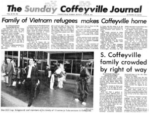 Newspaper article announcing our arrival into Coffeyville, KS.